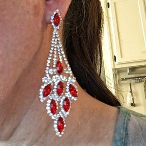 Cherryl's Jewelry - NEW PROM PAGEANT Red Crystal Chandelier Earrings